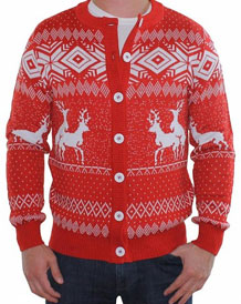 Unisex Red Reindeer Double Date Romp Christmas Cardigan from Tipsy Elves