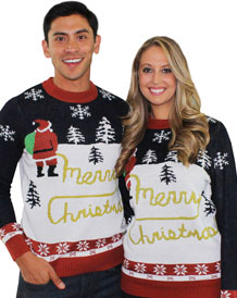 Unisex Blue And Red Santa Yellow Snow Christmas Jumper from Tipsy Elves