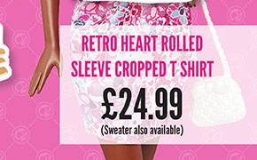 Retro Heart Rolled Sleeve Cropped T-Shirt - £24.99