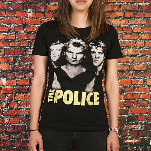 Ladies Black The Police Classic T-Shirt