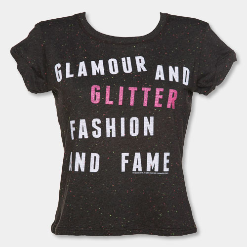 Ladies Jem And The Holograms Glamour And Glitter Speckled Rolled Sleeve T-Shirt