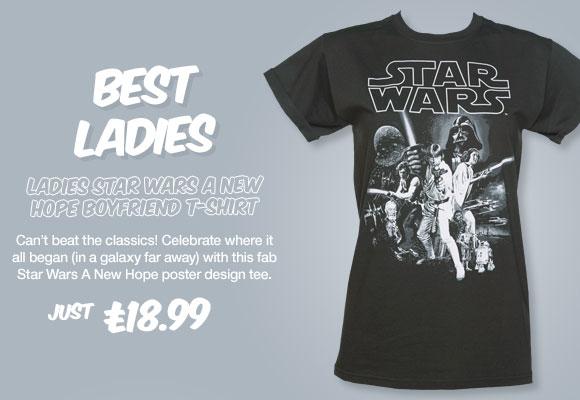 Ladies Charcoal Star Wars A New Hope Rolled Sleeve Boyfriend T-Shirt - £18.99