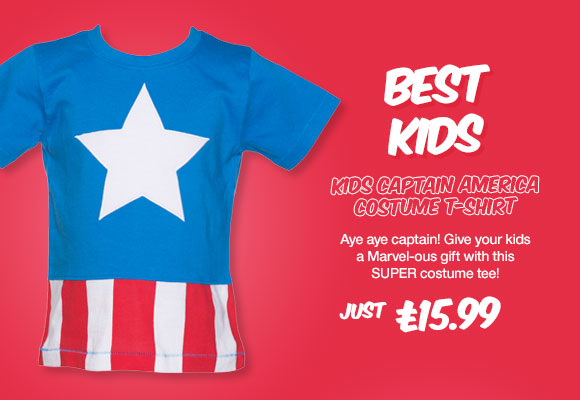 Kids Marvel Comics Captain America Costume T-Shirt from Fabric Flavours - £15.99