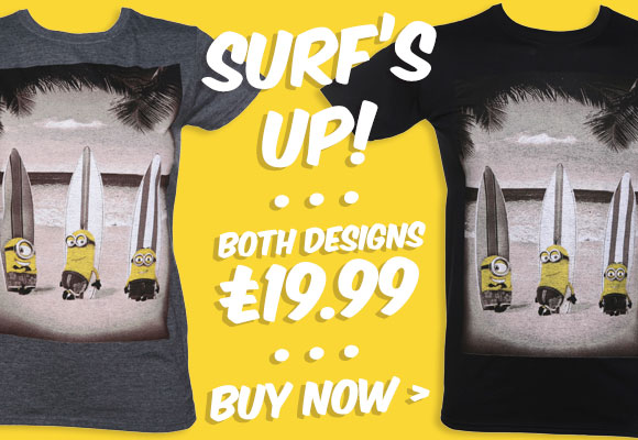 Men's and Ladies Surfing Minions T-Shirt - Both £19.99 - Shop Now