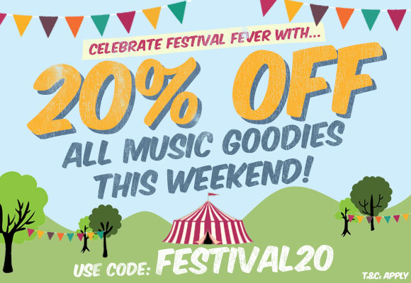 Celebrate festival fever with... 20% Off all Music Goodies this weekend!