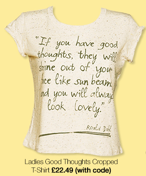Ladies Roald Dahl Good Thoughts Speckled Rolled Sleeve Cropped T-Shirt from TruffleShuffle