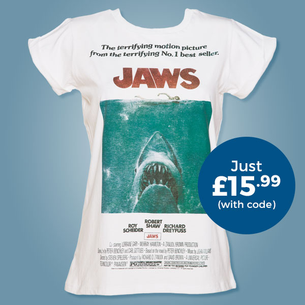 Ladies Jaws Movie Poster Rolled Sleeve Boyfriend T-Shirt from TruffleShuffle- Just £15.99 with code