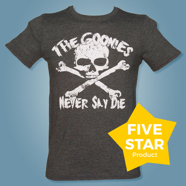 Men's Charcoal Goonies Never Say Die T-Shirt from TruffleShuffle - Just £15.99 with code