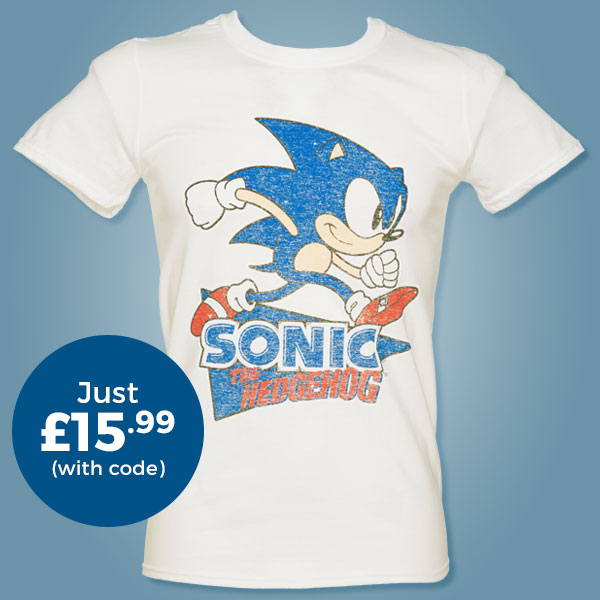 Men's Sonic The Hedgehog Retro Logo T-Shirt from TruffleShuffle - Just £15.99 with code