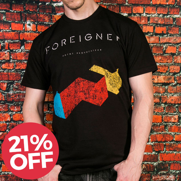 Men's Black Foreigner T-Shirt from Goodie Two Sleeves - £18.99