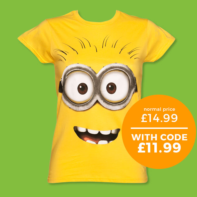 Ladies Yellow Despicable Me Dave Minion T-Shirt - Normally £14.99 - With code £11.99