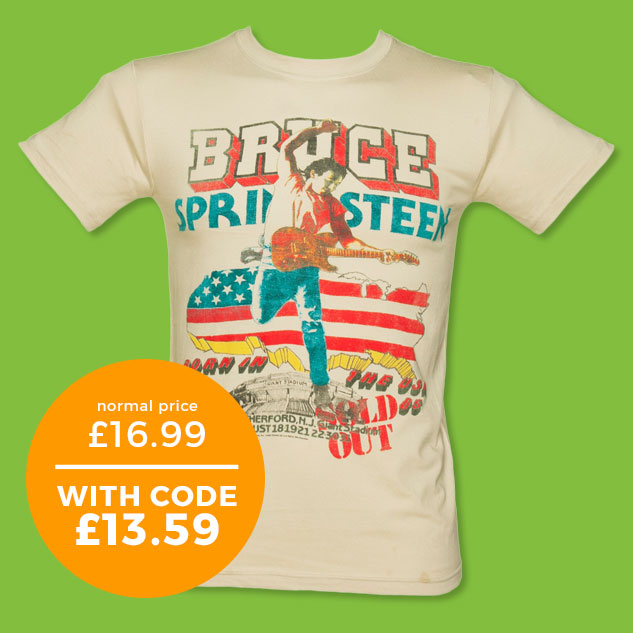 Men's Beige '85 US Tour Bruce Springsteen T-Shirt - Normally £16.99 - With code £13.59