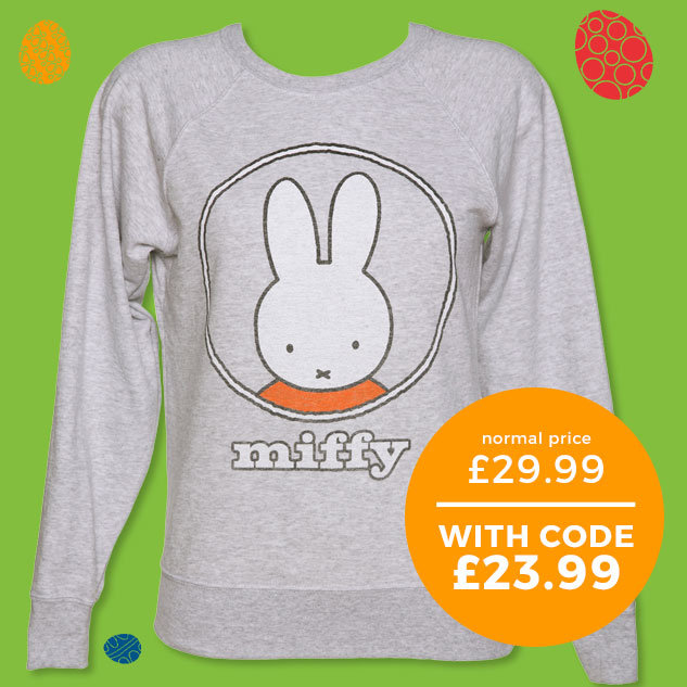 Ladies Light Grey Miffy Classic Logo Sweater from TruffleShuffle - Normally £29.99 - With code £23.99