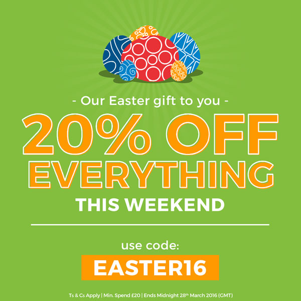 Our Easter gift to you... 20% OFF EVERYTHING this weekend. Use code: EASTER16