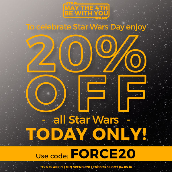 MAY THE 4TH BE WITH YOU! To celebrate Star Wars Day enjoy 20% off all Star Wars. TODAY ONLY! Use code: FORCE20