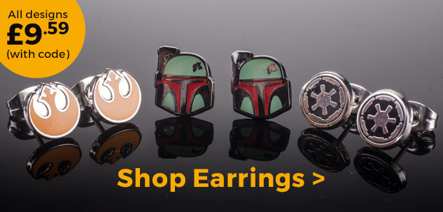 Star Wars Rebel Alliance, Boba Fett and Galactic Empire Symbol Stud Earrings £9.59 (with code)