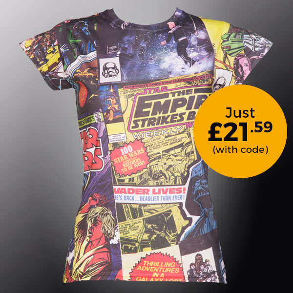 Ladies Star Wars Comic Print Sublimation T-Shirt £21.59 (with code)