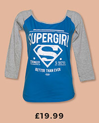 Ladies Blue And Grey DC Comics Supergirl Baseball T-Shirt With Glitter Print £19.99