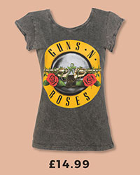 Ladies Charcoal Burnout Guns N Roses Classic Drum Logo T-Shirt With Rolled Sleeves £14.99