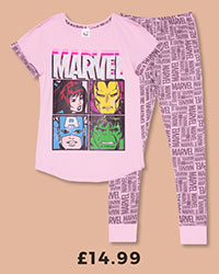 Ladies Pink Marvel Comics Characters Pyjamas £14.99