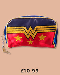 Retro Wonder Woman Satin Wash Bag With Glitter Print £10.99