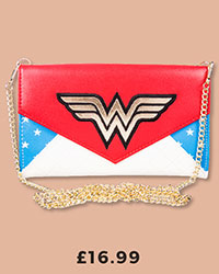 DC Comics Wonder Woman Stars Clutch Bag With Chain £16.99