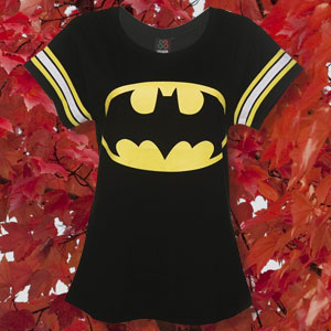 Women's Black DC Comics Batman Logo Varsity T-Shirt