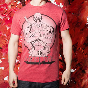 Men's Red Marl Mercenary Deadpool Marvel Comics T-Shirt