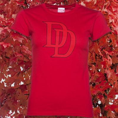 Women's Red Marvel Daredevil Logo T-Shirt