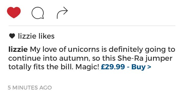 My love of unicorns is definitely going to continue into autumn, so this She-Ra jumper totally fits the bill. Magic! £29.99 - Buy